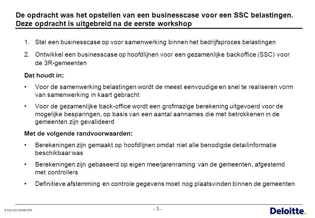 © Copyright Deloitte 2005 - 3 - De opdracht was het opstellen van een businesscase voor een SSC belastingen. Deze opdracht is uitgebreid na de eerste