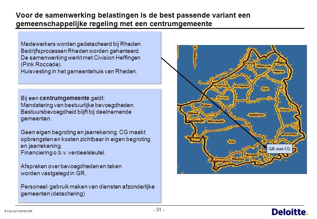 © Copyright Deloitte 2005 - 31 - GR met CG Voor de samenwerking belastingen is de best passende variant een gemeenschappelijke regeling met een centru