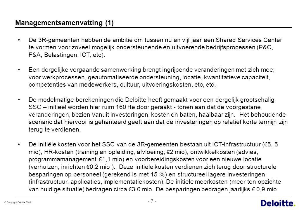 © Copyright Deloitte 2005 - 18 - Implementatiekosten komen vooral voort uit IT en datamigratie OnderdeelKosten (€)Scenario SSC Ontwerp organisatie SSC en verandermanagement Ontwikkelfase300.000Betreft 200 adviesdagen a € 1200 voor org.- en juridische structuur, sociaal statuut, projectmgt, detail PVA Test en Roll Out fase100.000Implementatie nieuwe activiteiten in SSC (schaduwdraaien) Communicatie50.000Communicatiematerialen, aanpassen internetsite, informatiebijeenkomsten Running cost tijdens implementatie€ 720.000 Projectmanager/SSC Directeur, P&O-adviseur, 1 fte facilities, 1fte financiële projectondersteuning gedurende eerste 3 jaar subtotaal1.170.000 Locatie Verwerving & verhuiskosten40.000 Verbouwing en deel inrichting150.000Deel inrichting dat eenmalig gebeurt en geen vervanging behoeft subtotaal190.000 HR Kosten sociaal statuut1.300.00015% huidig personeel kan niet mee, salaris gemiddeld 1 jaar doorbetaald+ ondersteuning (+10%) Training & teambuilding345.0004 dagen per medewerker a € 600 per dag per persoon (143 fte) Extra inzet personeel335.000Compensatie 20% productiviteitsverlies gedurende periode van 3 maanden Juridische kosten50.000Voeren verweer in juridische procedures subtotaal2.030.000 IT en datamigratie Programmatuur2.760.000Div.