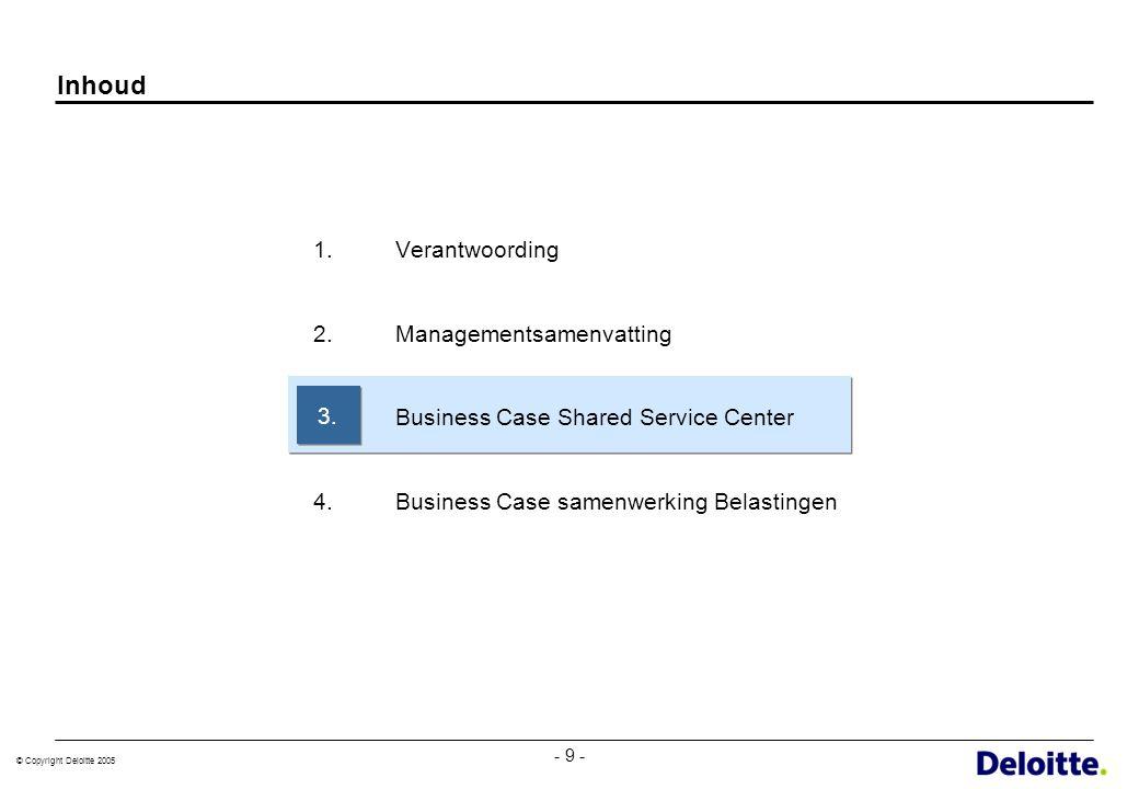 © Copyright Deloitte 2005 - 9 - Inhoud 1.Verantwoording 2.Managementsamenvatting 3.Business Case Shared Service Center 4.Business Case samenwerking Be