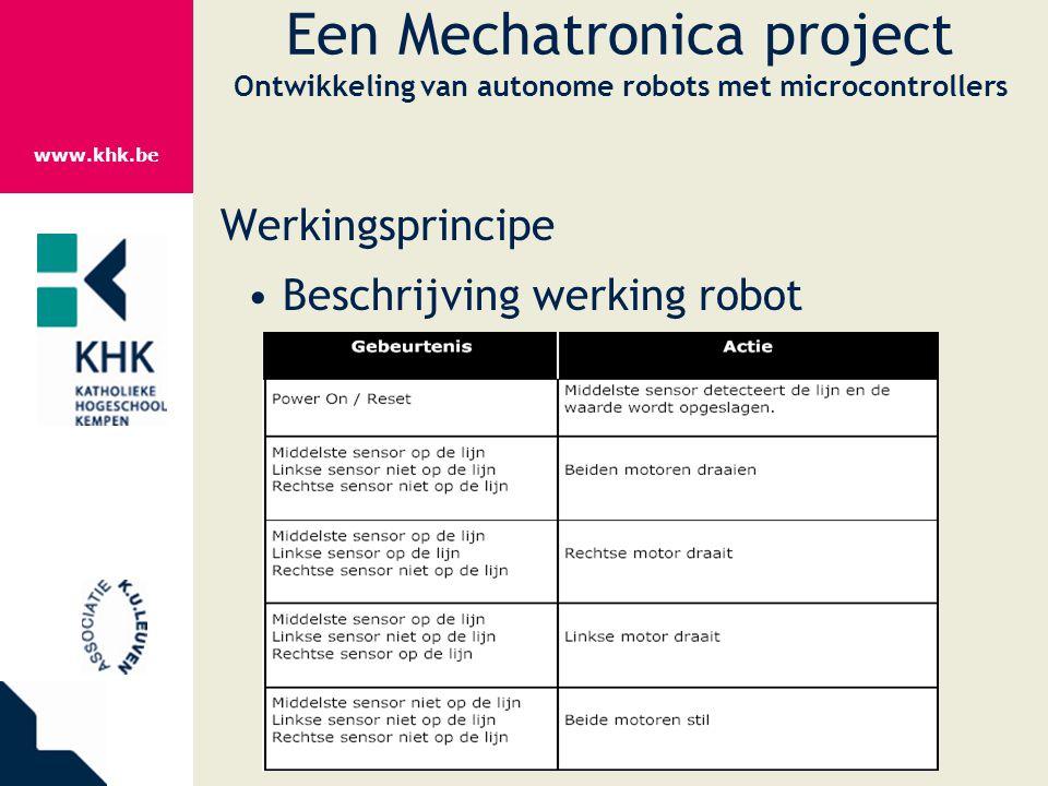 www.khk.be Een Mechatronica project Ontwikkeling van autonome robots met microcontrollers Werkingsprincipe Beschrijving werking robot