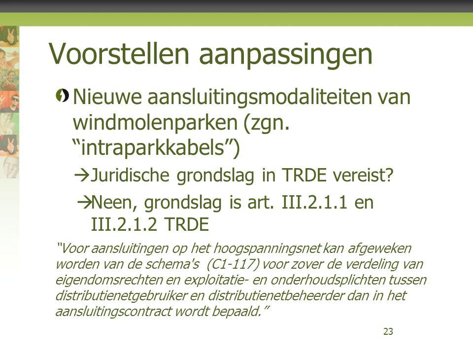 Voorstellen aanpassingen Nieuwe aansluitingsmodaliteiten van windmolenparken (zgn.