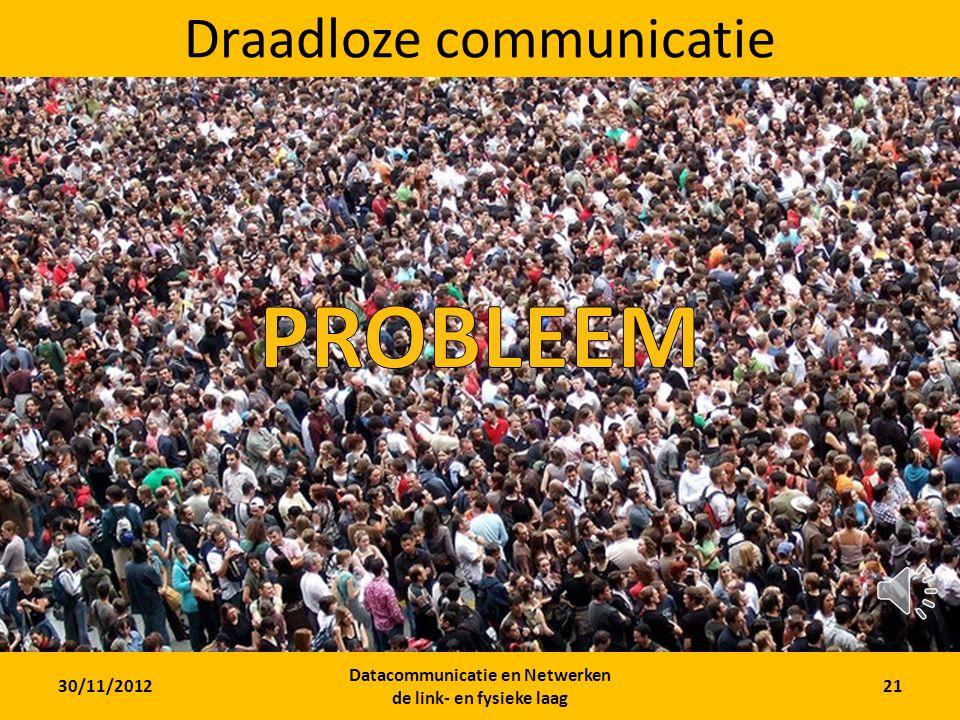 30/11/2012 Datacommunicatie en Netwerken de link- en fysieke laag 20 Mogelijke media KabelDraadloos Twisted pair Coax Fiber