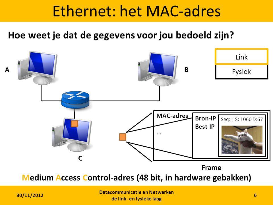 30/11/2012 Datacommunicatie en Netwerken de link- en fysieke laag 5 Ethernet