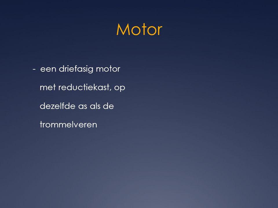 Motor - een driefasig motor met reductiekast, op dezelfde as als de trommelveren