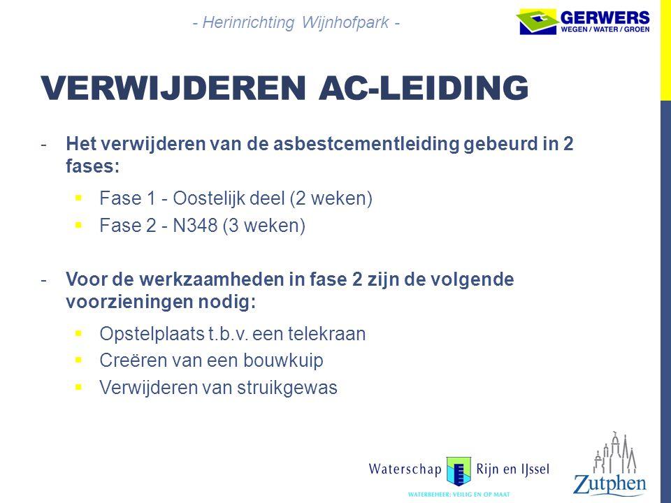 VERWIJDEREN AC-LEIDING -Het verwijderen van de asbestcementleiding gebeurd in 2 fases:  Fase 1 - Oostelijk deel (2 weken)  Fase 2 - N348 (3 weken) -