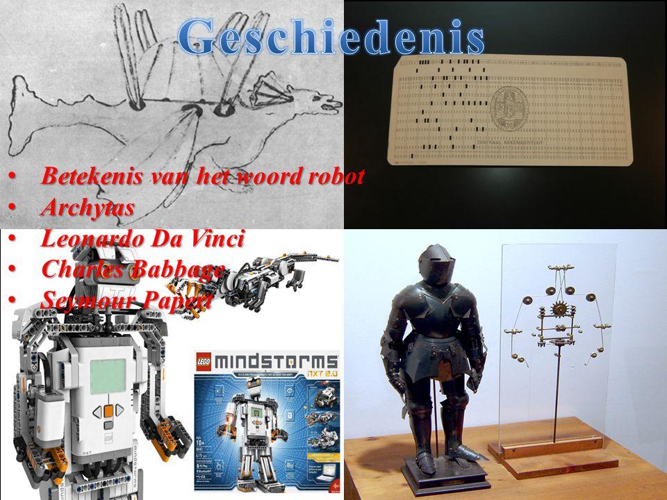 Betekenis van het woord robot Betekenis van het woord robot Archytas Archytas Leonardo Da Vinci Leonardo Da Vinci Charles Babbage Charles Babbage Seym