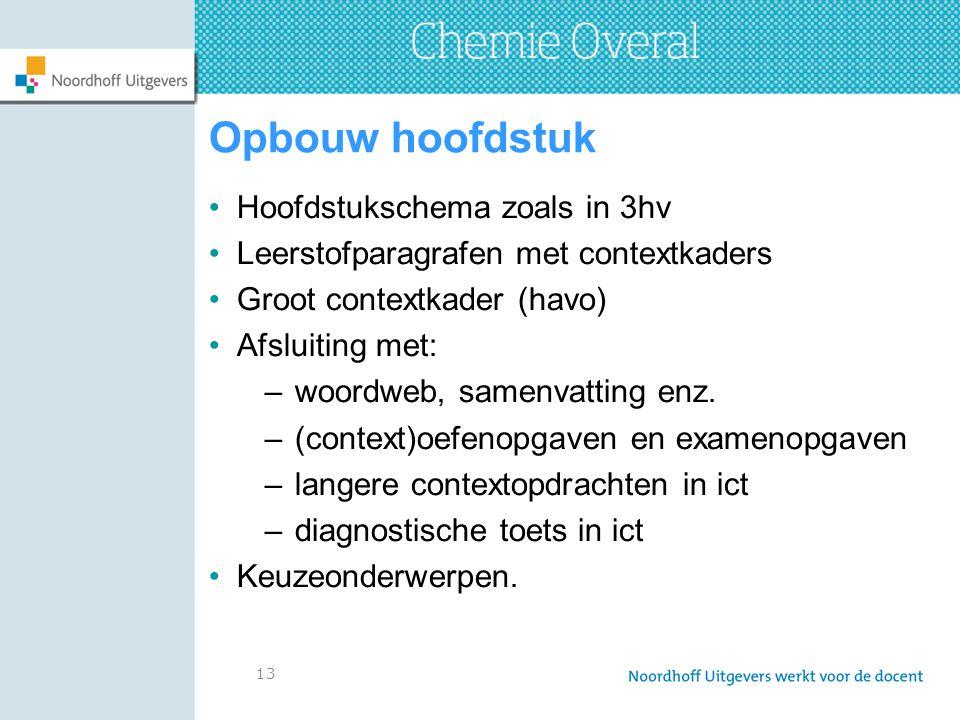 13 Opbouw hoofdstuk Hoofdstukschema zoals in 3hv Leerstofparagrafen met contextkaders Groot contextkader (havo) Afsluiting met: –woordweb, samenvatting enz.