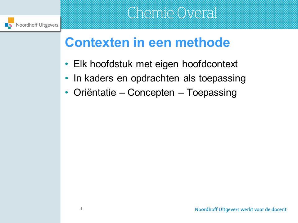 5 Contexten bij Chemie Overal Weinig context in uitlegtekst Contexthoofdstukken Korte contextkaders(vwo) en één groot contextkader(havo) Contexten in beeld Contextopdrachten o.a.