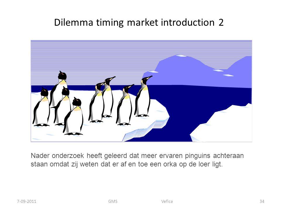 Dilemma timing market introduction 2 Nader onderzoek heeft geleerd dat meer ervaren pinguins achteraan staan omdat zij weten dat er af en toe een orka op de loer ligt.