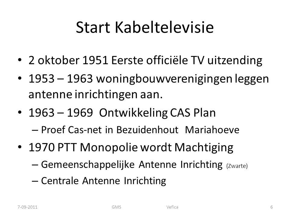 Start Kabeltelevisie 2 oktober 1951 Eerste officiële TV uitzending 1953 – 1963 woningbouwverenigingen leggen antenne inrichtingen aan.