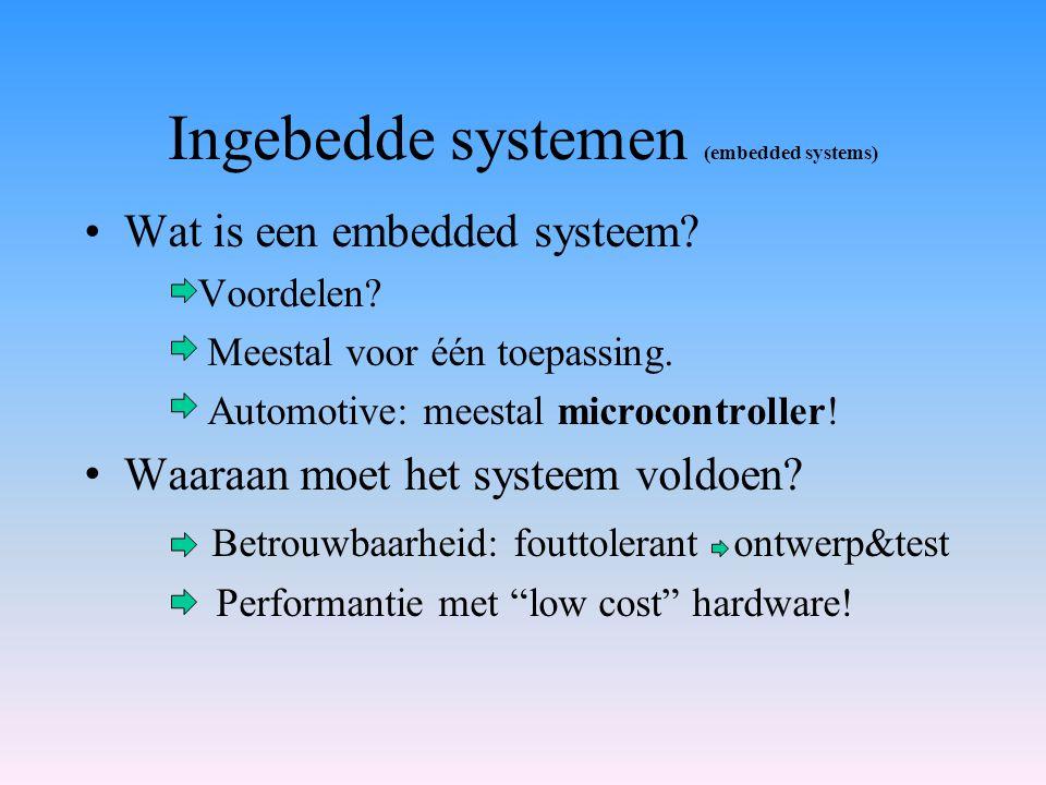 Ingebedde systemen (embedded systems) Wat is een embedded systeem? Voordelen? Meestal voor één toepassing. Automotive: meestal microcontroller! Waaraa