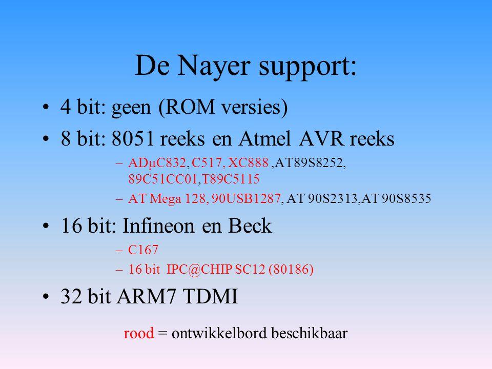 De Nayer support: 4 bit: geen (ROM versies) 8 bit: 8051 reeks en Atmel AVR reeks –ADμC832, C517, XC888,AT89S8252, 89C51CC01,T89C5115 –AT Mega 128, 90U