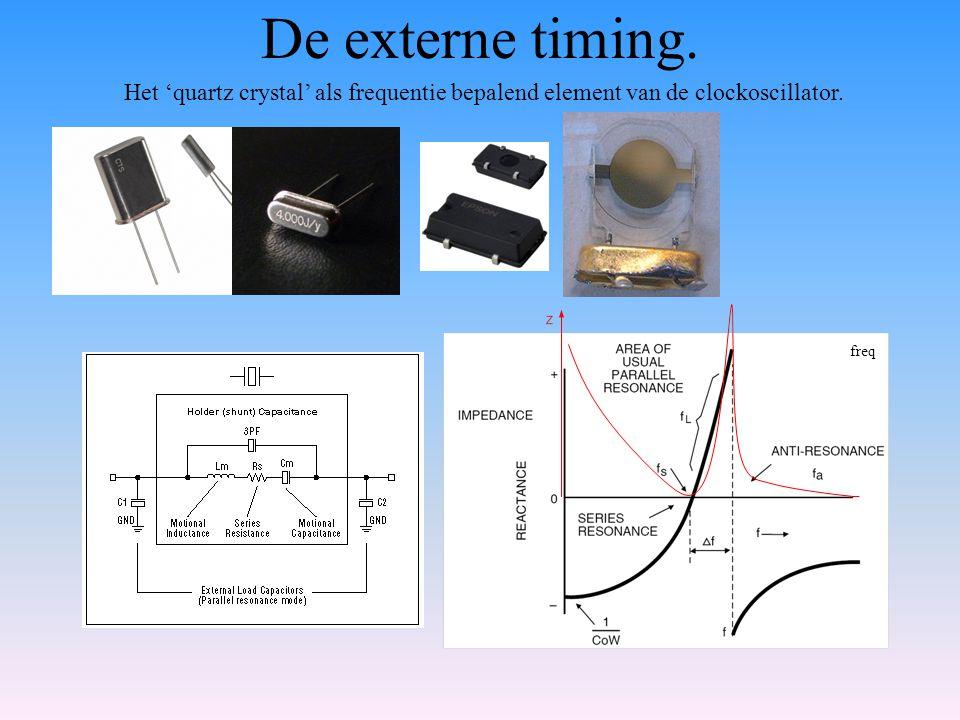 De externe timing. Het 'quartz crystal' als frequentie bepalend element van de clockoscillator. freq