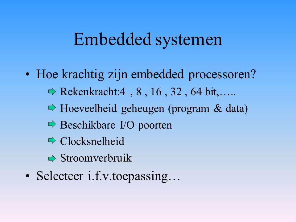 Embedded systemen Hoe krachtig zijn embedded processoren? Rekenkracht:4, 8, 16, 32, 64 bit,….. Hoeveelheid geheugen (program & data) Beschikbare I/O p