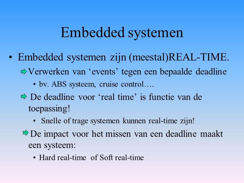 Embedded systemen Embedded systemen zijn (meestal)REAL-TIME. Verwerken van 'events' tegen een bepaalde deadline bv. ABS systeem, cruise control…. De d