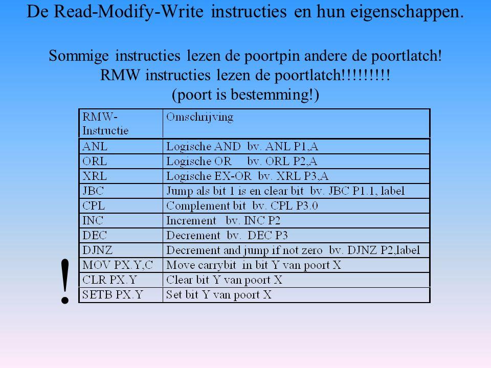 De Read-Modify-Write instructies en hun eigenschappen. Sommige instructies lezen de poortpin andere de poortlatch! RMW instructies lezen de poortlatch
