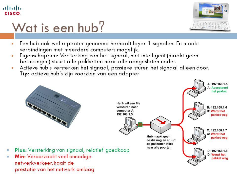 Wat is een hub ?  Een hub ook wel repeater genoemd herhaalt layer 1 signalen. En maakt verbindingen met meerdere computers mogelijk.  Eigenschappen: