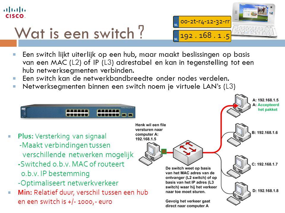 Wat is een switch ?  Een switch lijkt uiterlijk op een hub, maar maakt beslissingen op basis van een MAC (L2) of IP (L3) adrestabel en kan in tegenst