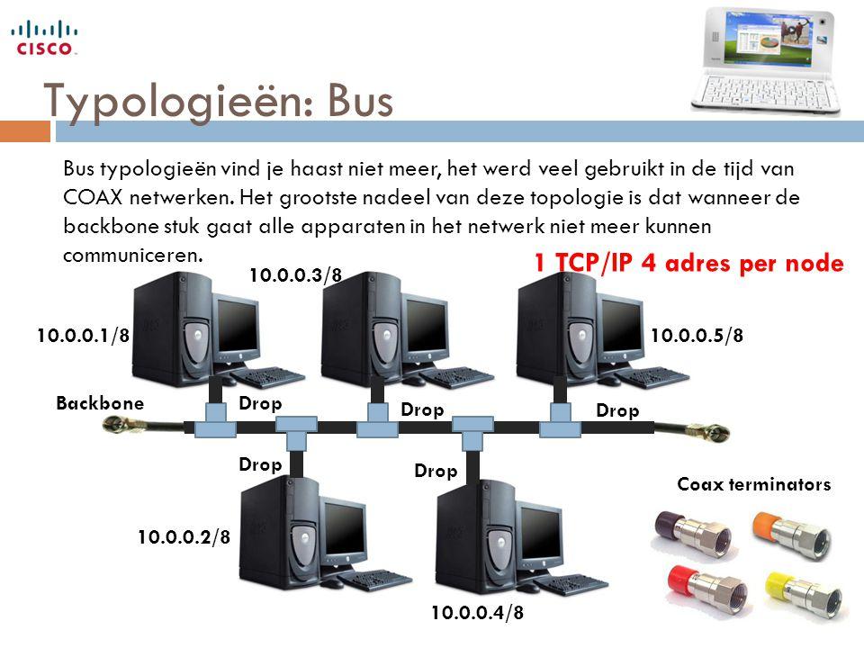 Typologieën: Bus Coax terminators Bus typologieën vind je haast niet meer, het werd veel gebruikt in de tijd van COAX netwerken. Het grootste nadeel v