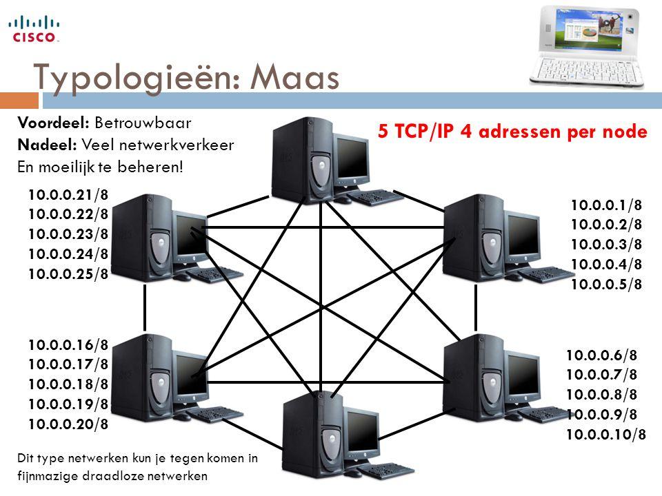 Typologieën: Maas 5 TCP/IP 4 adressen per node 10.0.0.1/8 10.0.0.2/8 10.0.0.3/8 10.0.0.4/8 10.0.0.5/8 10.0.0.6/8 10.0.0.7/8 10.0.0.8/8 10.0.0.9/8 10.0.0.10/8 10.0.0.16/8 10.0.0.17/8 10.0.0.18/8 10.0.0.19/8 10.0.0.20/8 10.0.0.21/8 10.0.0.22/8 10.0.0.23/8 10.0.0.24/8 10.0.0.25/8 Voordeel: Betrouwbaar Nadeel: Veel netwerkverkeer En moeilijk te beheren.