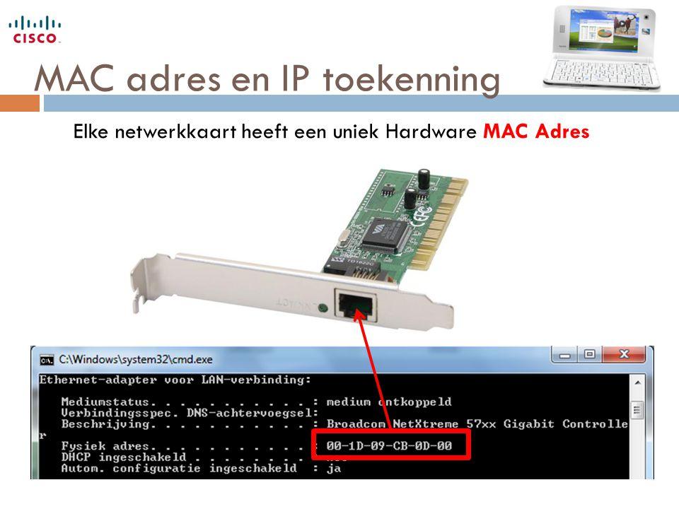 MAC adres en IP toekenning DHCP Scope: Van 192.168.10.51 Tot 192.168.10.150