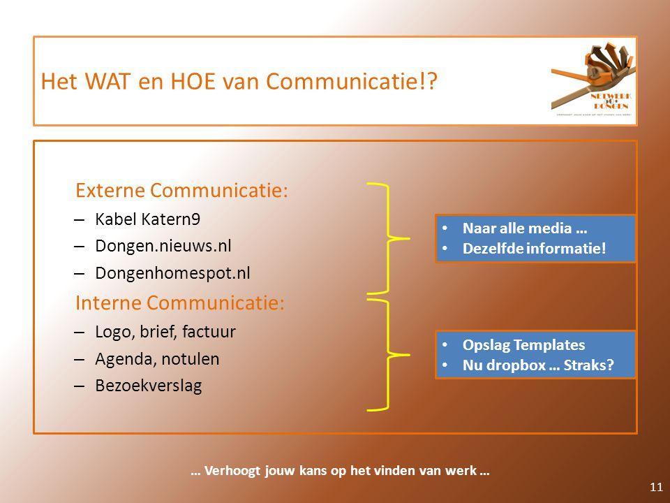 Het WAT en HOE van Communicatie!? Externe Communicatie: – Kabel Katern9 – Dongen.nieuws.nl – Dongenhomespot.nl Interne Communicatie: – Logo, brief, fa