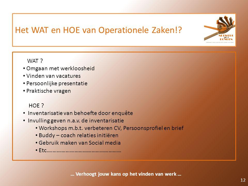 Het WAT en HOE van Operationele Zaken!? 12 … Verhoogt jouw kans op het vinden van werk … WAT ? Omgaan met werkloosheid Vinden van vacatures Persoonlij