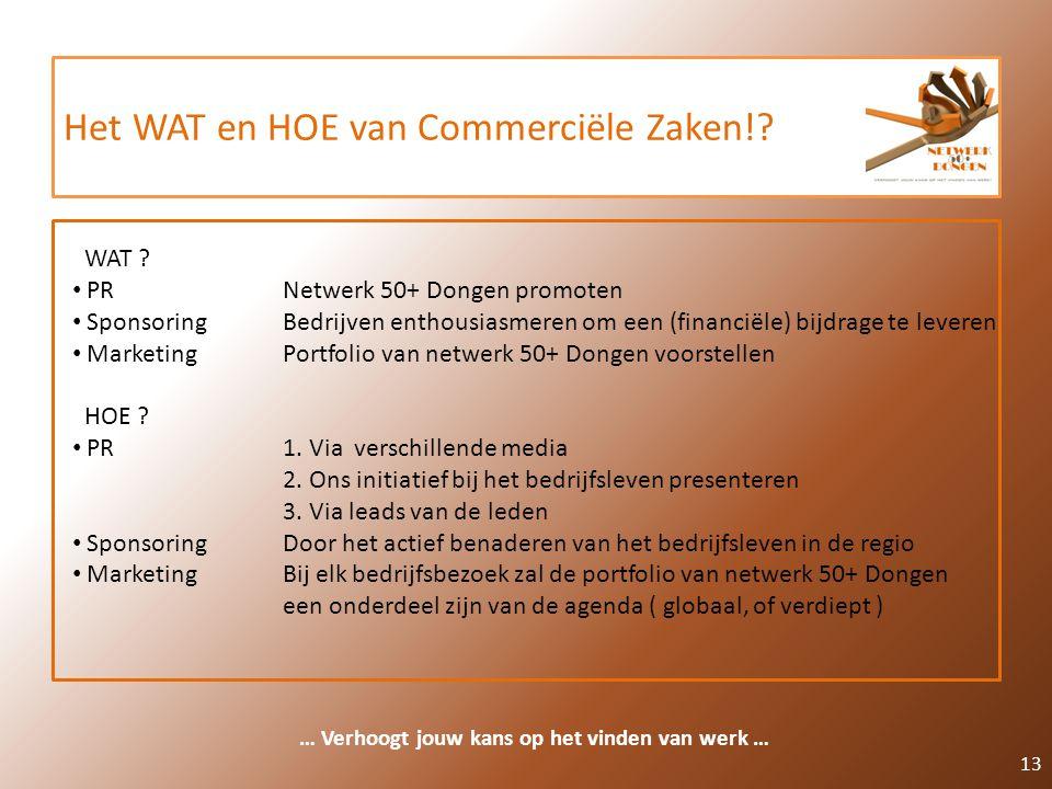 Het WAT en HOE van Commerciële Zaken!? 13 … Verhoogt jouw kans op het vinden van werk … WAT ? PR Netwerk 50+ Dongen promoten SponsoringBedrijven entho