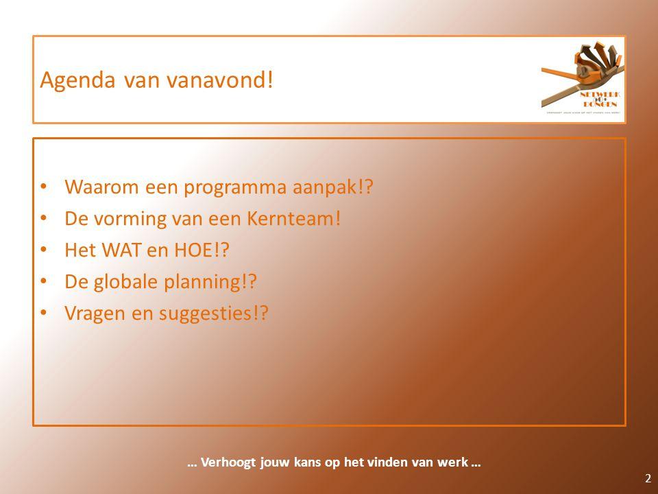 Agenda van vanavond! Waarom een programma aanpak!? De vorming van een Kernteam! Het WAT en HOE!? De globale planning!? Vragen en suggesties!? 2 … Verh