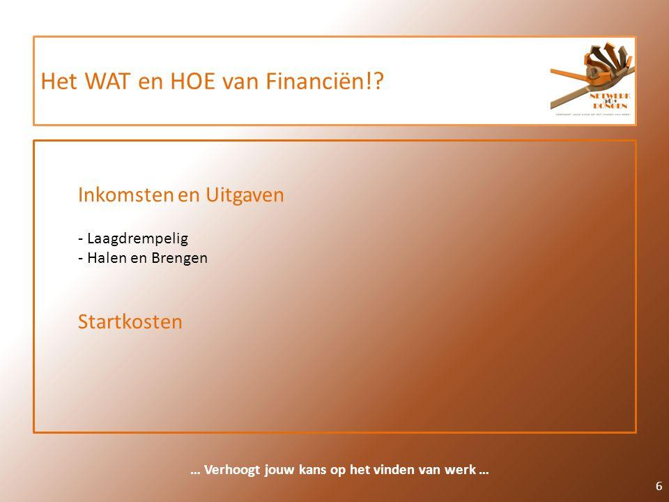 Het WAT en HOE van Financiën!? 6 … Verhoogt jouw kans op het vinden van werk … Inkomsten en Uitgaven - Laagdrempelig - Halen en Brengen Startkosten