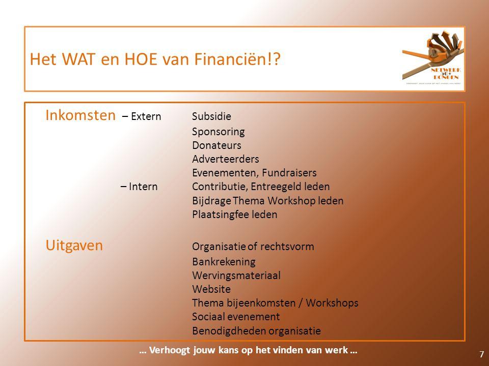 Het WAT en HOE van Financiën!? 7 Inkomsten – ExternSubsidie Sponsoring Donateurs Adverteerders Evenementen, Fundraisers – InternContributie, Entreegel