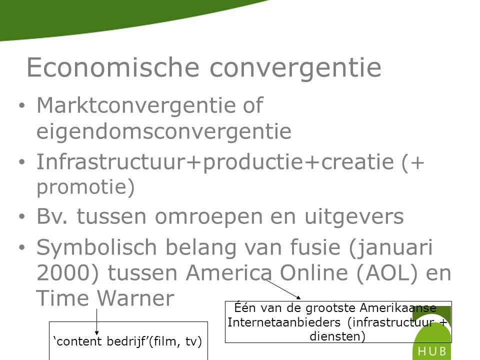 Economische convergentie Marktconvergentie of eigendomsconvergentie Infrastructuur+productie+creatie (+ promotie) Bv.