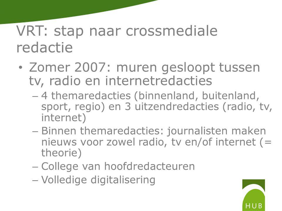 VRT: stap naar crossmediale redactie Evaluatie verandering: – Demotivatie werknemers – Vnl.