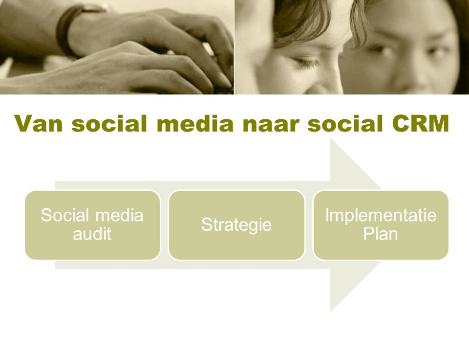 Van social media naar social CRM Social media audit Strategie Implementatie Plan