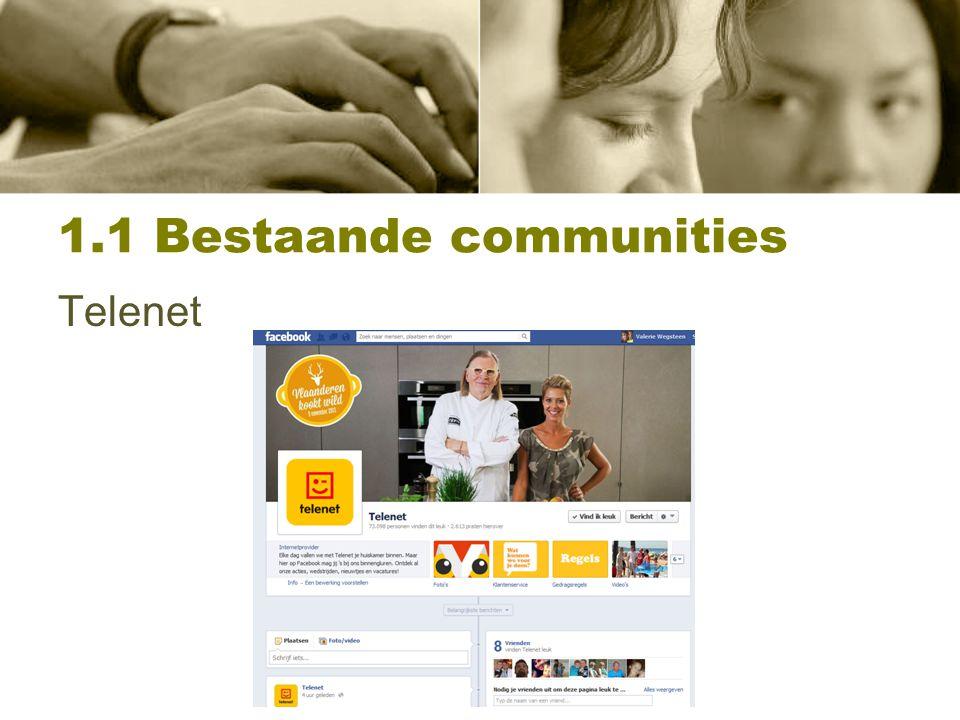1.1 Concurrentieanalyse Spelers op de markt: Spelers op de markt Internet:Belgacom, Scarlet,..