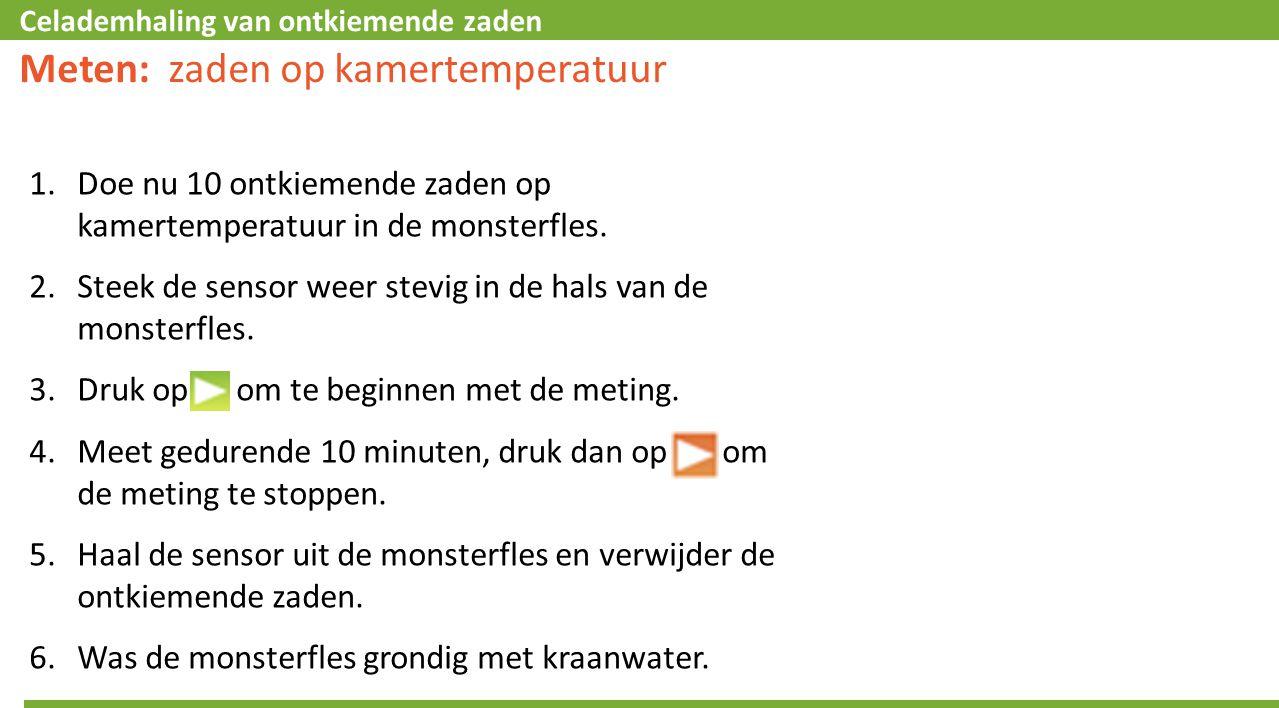 Celademhaling van ontkiemende zaden Meten: zaden op kamertemperatuur 1.Doe nu 10 ontkiemende zaden op kamertemperatuur in de monsterfles.