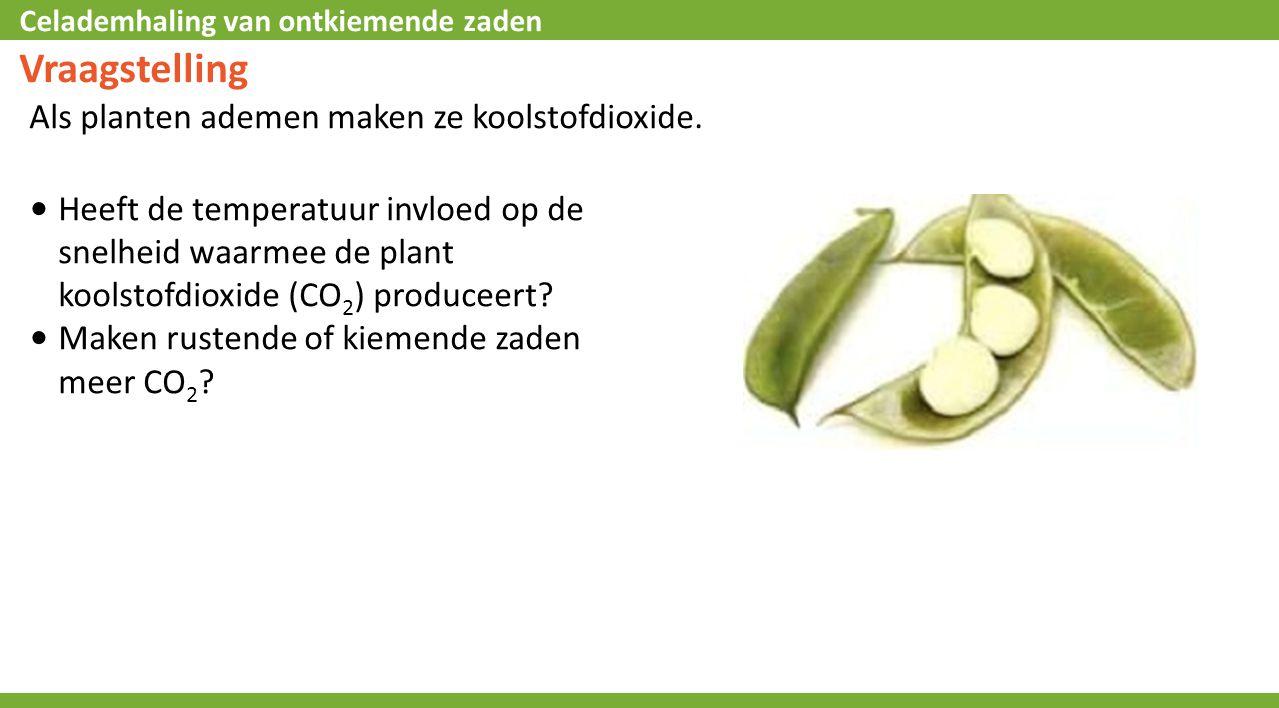 Celademhaling van ontkiemende zaden Vraagstelling Als planten ademen maken ze koolstofdioxide.