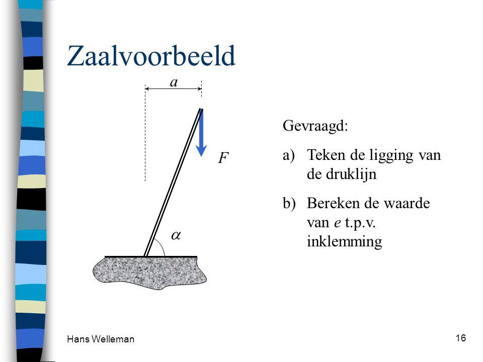 Hans Welleman 16 Zaalvoorbeeld F a Gevraagd: a)Teken de ligging van de druklijn b)Bereken de waarde van e t.p.v. inklemming 