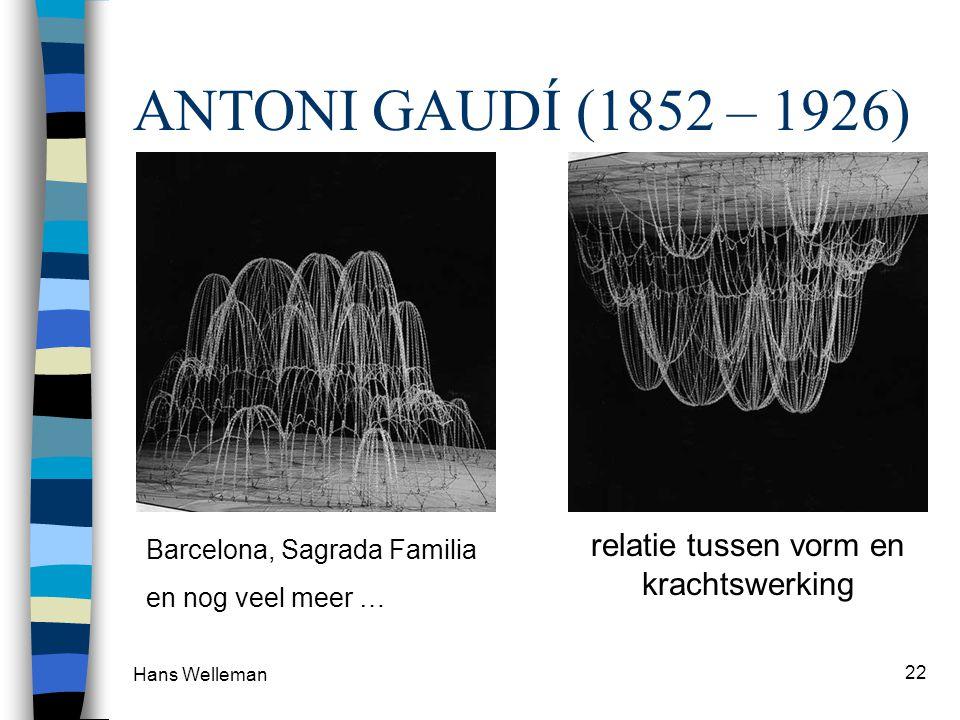 Hans Welleman 22 ANTONI GAUDÍ (1852 – 1926) Barcelona, Sagrada Familia en nog veel meer … relatie tussen vorm en krachtswerking