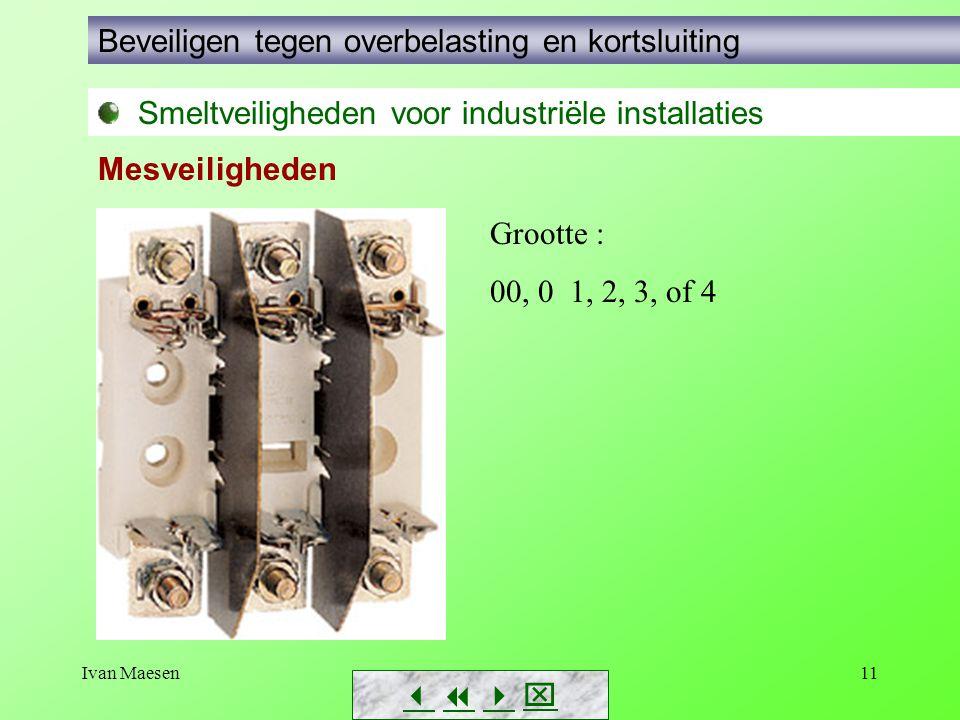 Ivan Maesen11        Smeltveiligheden voor industriële installaties Beveiligen tegen overbelasting en kortsluiting Mesveiligheden Grootte : 00