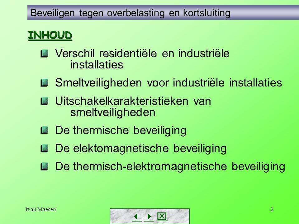 Ivan Maesen2 Beveiligen tegen overbelasting en kortsluiting Verschil residentiële en industriële installaties Smeltveiligheden voor industriële instal