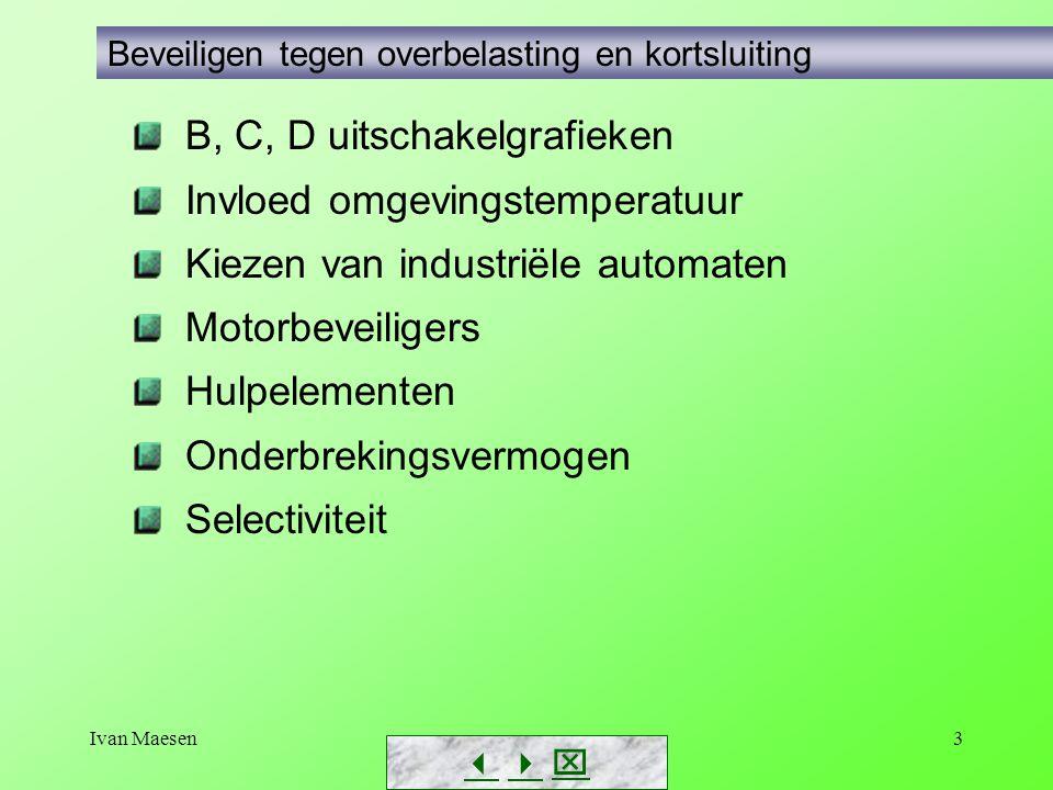 Ivan Maesen3 Beveiligen tegen overbelasting en kortsluiting B, C, D uitschakelgrafieken Invloed omgevingstemperatuur Kiezen van industriële automaten