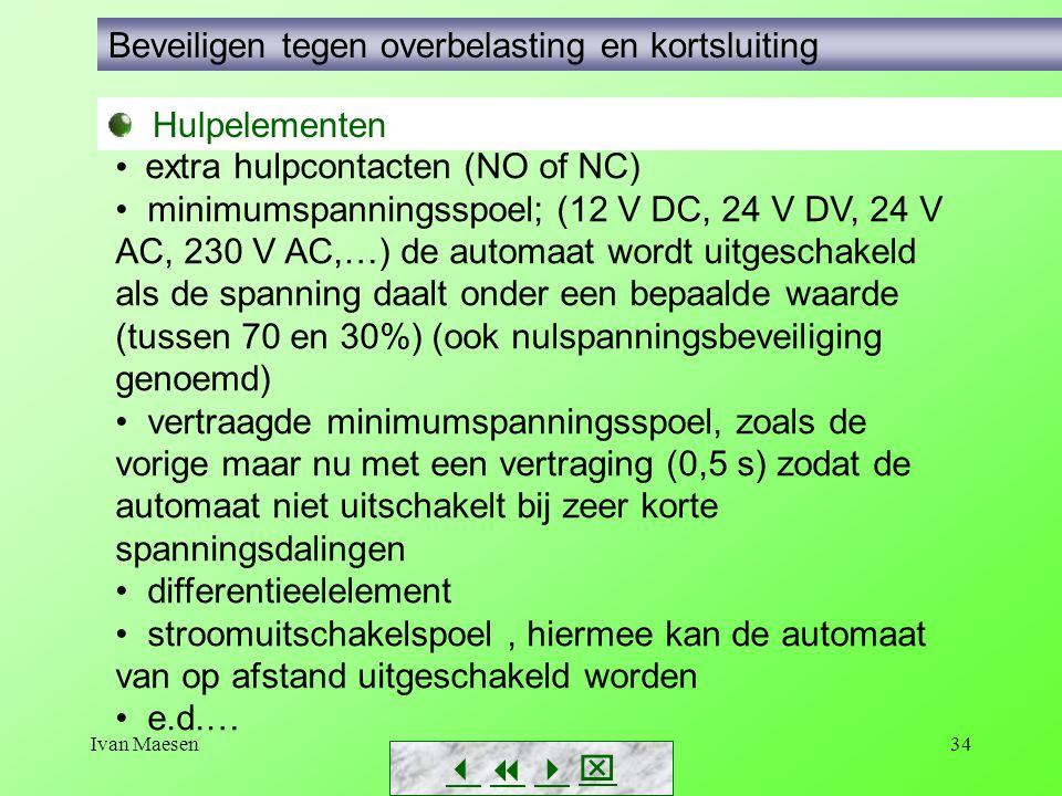 Ivan Maesen34        Hulpelementen Beveiligen tegen overbelasting en kortsluiting extra hulpcontacten (NO of NC) minimumspanningsspoel; (12 V