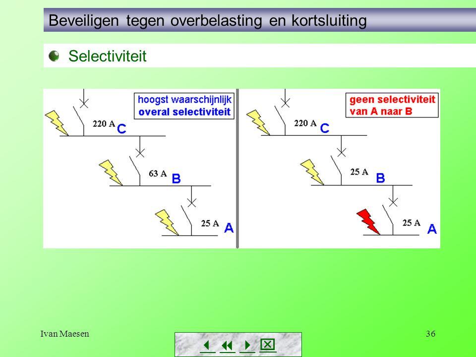 Ivan Maesen36        Selectiviteit Beveiligen tegen overbelasting en kortsluiting