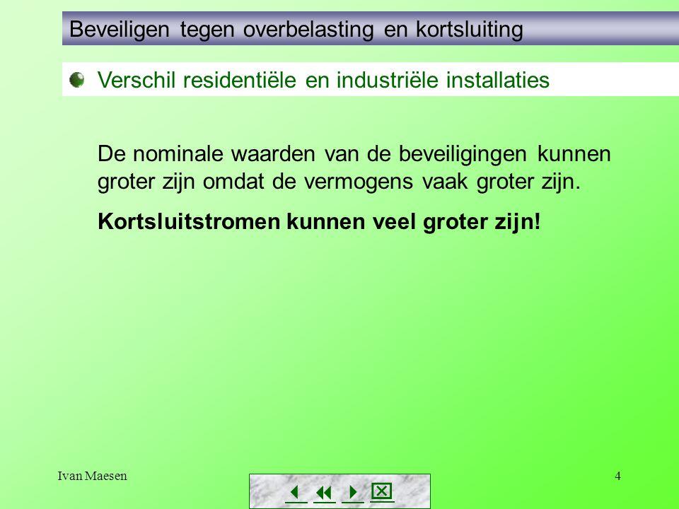 Ivan Maesen4        Verschil residentiële en industriële installaties Beveiligen tegen overbelasting en kortsluiting De nominale waarden van d
