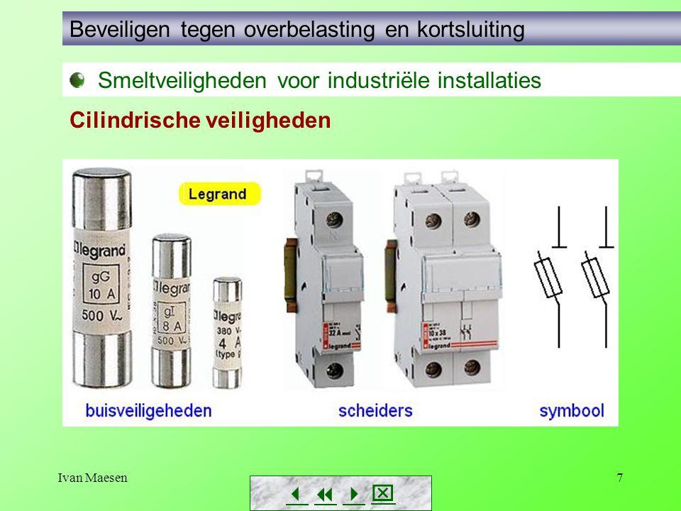 Ivan Maesen7        Smeltveiligheden voor industriële installaties Beveiligen tegen overbelasting en kortsluiting Cilindrische veiligheden