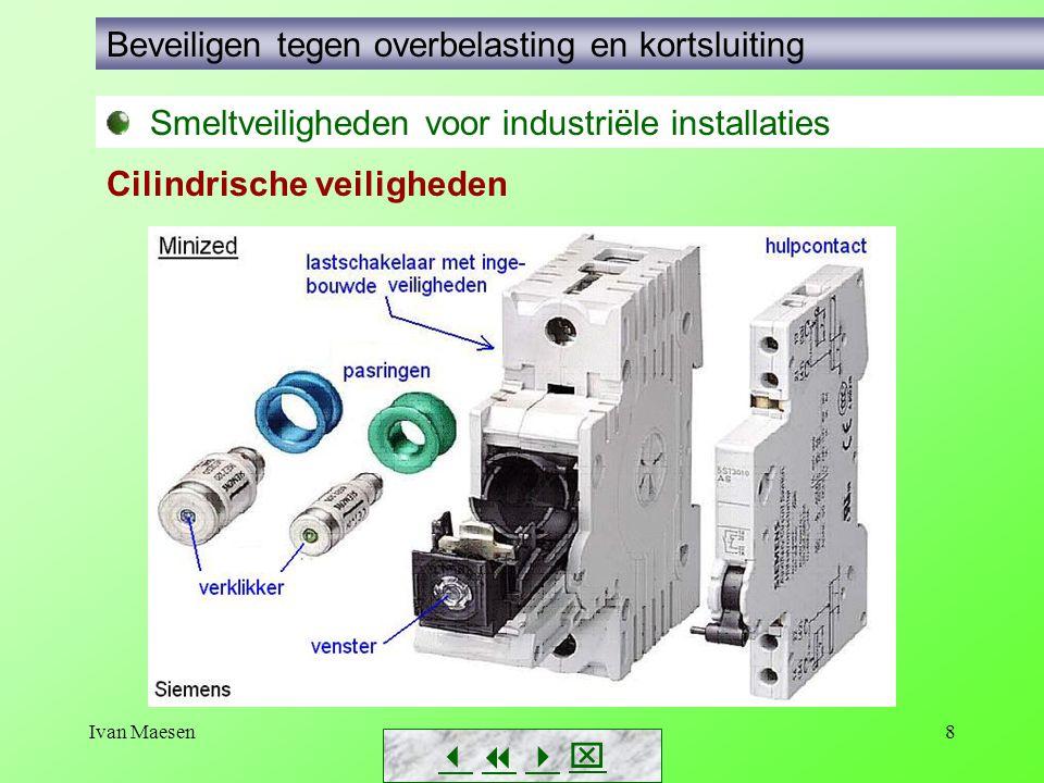 Ivan Maesen8        Smeltveiligheden voor industriële installaties Beveiligen tegen overbelasting en kortsluiting Cilindrische veiligheden