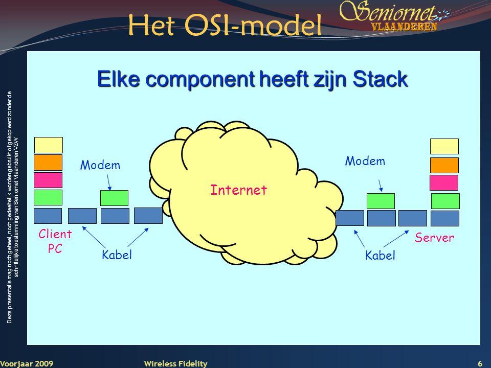 Deze presentatie mag noch geheel, noch gedeeltelijk worden gebruikt of gekopieerd zonder de schriftelijke toestemming van Seniornet Vlaanderen VZW Voorjaar 2009 Wireless Fidelity 17 Wide Area Network Internet Intranet Hasselt Intranet Brussel WAN
