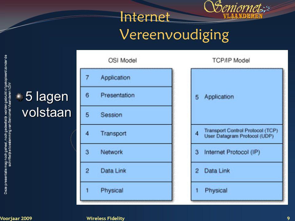 Deze presentatie mag noch geheel, noch gedeeltelijk worden gebruikt of gekopieerd zonder de schriftelijke toestemming van Seniornet Vlaanderen VZW Voorjaar 2009 Wireless Fidelity 30 2.
